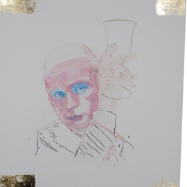 Alkistis Wechsler: 'G Glass', 2011 Ink Painting, Portrait. Artist Description:      My summer inspiration to a new series of ink and pigment watercoulors portraits inspired by various ages of my Friend HUGO     ...