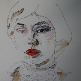 Alkistis Wechsler: 'Giovanna Nuvoletti', 2011 Oil Painting, Portrait. Artist Description:  ink and pigment- watercolour. a portrait of the writer Giovanna Nuvoletti     ...