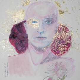 Alkistis Wechsler: 'Golden Aura ', 2011 Ink Painting, Portrait. Artist Description:     My summer inspiration to a new series of ink and pigment watercoulors portraits inspired by various ages of my Friend HUGO    ...
