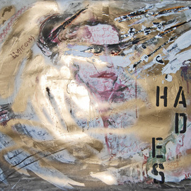 Alkistis Wechsler: 'La folia del Principe di Hades', 2012 Other Painting, Surrealism. Artist Description:           ink watercolour, pigment and golden spray etc material on paper. Graffiti. part of the series Persephone falls in the underworld      ...