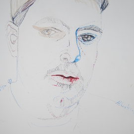 Alkistis Wechsler: 'New portrait of Jean Philippe Delalandre', 2014 Ink Painting, Portrait. Artist Description:  a present to the friend and model himself ...