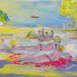 Alkistis Wechsler: 'Strand', 2009 Other Painting, Scenic. Artist Description: Impressions from Grifeu ( bei Llanca) in Spain and Colioure in France, two sides of Catalonia, in the summer of 2008 are coming together in this painting with oil and acrylic on canvas. ...