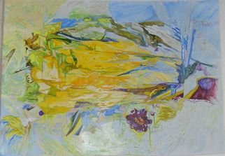Alkistis Wechsler Artwork The yellow tulip dances, 2008 Oil Painting, Abstract Figurative