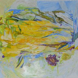 Alkistis Wechsler: 'The yellow tulip dances', 2008 Oil Painting, Abstract Figurative. Artist Description:  A yellow tulip turned to a dancing flame. The bright yellow and yellow green of early Spring time are the inspiration for this spiritual intoxication. ...