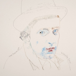 Alkistis Wechsler: 'chapeau', 2011 Ink Painting, Portrait. Artist Description:             My summer inspiration to a new series of ink, pigment watercoulors and golden leaf, portraits inspired by various ages of my Friend HUGO            ...