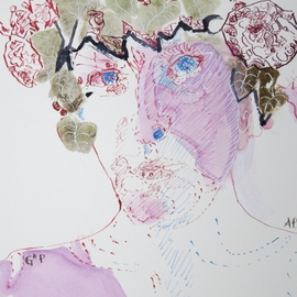 Alkistis Wechsler: 'dionyssos masquerade', 2011 Ink Painting, Portrait. Artist Description:           My summer inspiration to a new series of ink, pigment watercoulors and golden leaf, portraits inspired by various ages of my Friend HUGO          ...