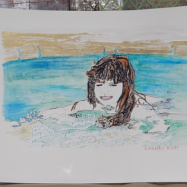 Alkistis Wechsler: 'joy', 2011 Ink Painting, Portrait. Artist Description:  a swiming child ink and pigment watercolour give a pearl of heaven   ...