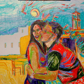 Alkistis Wechsler: 'love island', 2010 Oil Painting, Scenic. Artist Description:        a teenager' s couple on holidays celebrating the fulfillment of their love on holiday time! ...