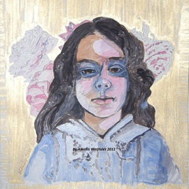 Alkistis Wechsler: 'moi', 2011 Ink Painting, Portrait. Artist Description:     a child' s psychlogical expressionist portrait   ...