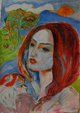 Alkistis Wechsler: 'mother Shekinah', 2009 Oil Painting, Kabbalah. Artist Description:  a tarot like composition with double portrait on Canvas other title: Pomegranate garden ...