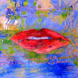 Alkistis Wechsler: 'my lips', 2009 Oil Painting, Magical. Artist Description:    my first painting of the year 2009 see also related blogIt is oil colour on canvas  but also blue and yellow glitter as well as fake gold leaf. ...