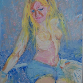 Alkistis Wechsler: 'nymphe', 2011 Oil Painting, Portrait. Artist Description:   finished this month of February . All made with a small and a large spatula - no brush! the teenager daughter of a friend!  ...