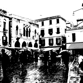 Alkistis Wechsler: 'rain in Venice', 2007 Other Photography, Scenic. Artist Description:  Treshold applied on a colour digital image I made Nov 2007 in Venice. A street Market with lots of umbrellas!The print is for sale. ...