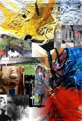Collage by Alkistis Wechsler titled: the flying yellow paper dragon, 2007