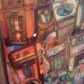 Allan Cohen Artwork Vintage Jukeboxes, 2012 Collage, Vintage