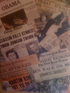 Collage by Allan Cohen titled: Vintage Newspaper Headlines, 2012