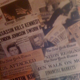 Allan Cohen Artwork Vintage Newspaper Headlines, 2012 Collage, Vintage