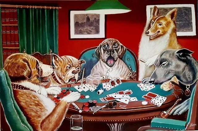 Alla Alevtina Volkova: 'Dogs Playing Poker', 2019 Oil Painting, Dogs. Dogs Playing Poker, reproduction Cassius Marcellus Coolidge.  Oil Painting Original Wall painting on Canvas by Alla Volkova.  Perfect gift for any occasion.  Size 24x 36inches 60. 000 x 90. 000 x 3 cmThe oil paintingDogs Playing Poker was written in 2019.  All my works are written by intuition, inspiration ...