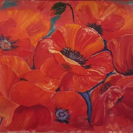 Alla Alevtina Volkova: 'Red Poppies Fine Art', 2015 Oil Painting, Floral. Artist Description: Red Poppies Oil Painting Original Art Oil Canvas Large Flower Painting for sale Absolute Art Buy Original Large Artwork art online Fine art.  A painting of red poppies with water droplets, painted in oil on a natural canvas, stretched on a solid wooden frame.  Ready to hang on ...
