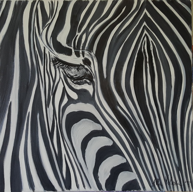 Alla Alevtina Volkova  'White And Black', created in 2015, Original Painting Oil.