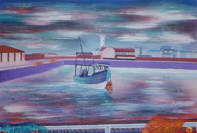 Harry Bayley  'Coming To Dock', created in 1999, Original Painting Acrylic.