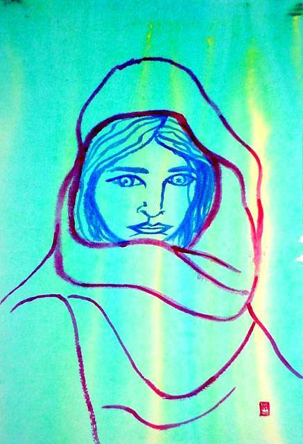 Harry Bayley  'Girl With Shawl', created in 2002, Original Painting Acrylic.