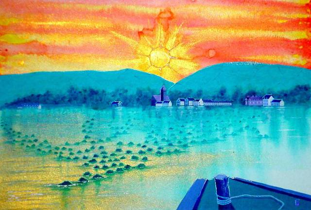 Harry Bayley  'Golden Sunrise', created in 2002, Original Painting Acrylic.