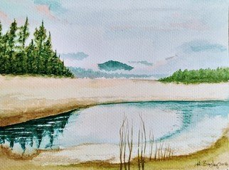 Harry Bayley: 'laggan beach', 2017 Watercolor, Landscape. Watercolour of the beach at Laggan, Lochaber in Scotland. ...