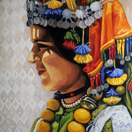 Joanna Almasude: 'Fatima', 1998 Oil Painting, Portrait. Artist Description:  oil on canvas, joanna almasude, morocco, amazigh, women, woman, head- dress, berber, colorful...