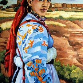 Joanna Almasude: 'Wedding Guest', 1999 Oil Painting, Portrait. Artist Description:   oil on canvas, joanna almasude, morocco, amazigh, women, woman, head- dress, berber, colorful   ...