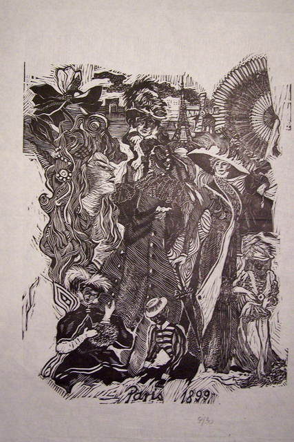 Aldona Kaczmarczykkolucka  'Women  Fashion  Epoques  3', created in 2006, Original Printmaking Linoleum.