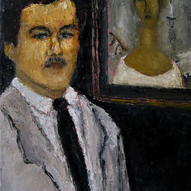 Alpha Shanahan: 'modigliani with anna', 2018 Oil Painting, Figurative. Artist Description: Amedeo Modigliani, the famous italian painter  1884- 1920   has painted many portraits. In this painting, i placed him before one of his portrait paintings. That of Anna Zborowski.This is a small portrait painting of my favourite artist, Amedeo Modigliani. ...