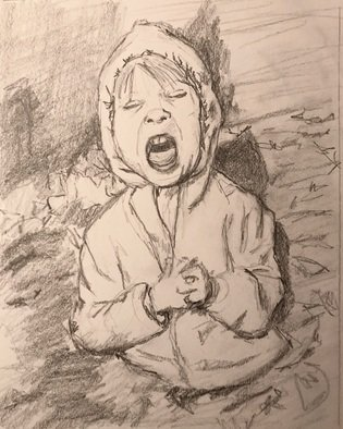 Alyse Dietrich: 'leaf pile', 2017 Graphite Drawing, Figurative. leaf pile, yelling, yell, mouth, rain coat, child...