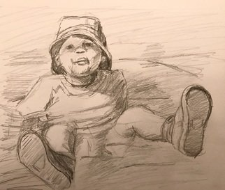 Alyse Dietrich: 'whoops', 2017 Graphite Drawing, Figurative. child, falling, water, ...