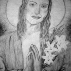Amanda Tallcot Artwork Saint Madonna Goretti , 2006 Pencil Drawing, Archetypal