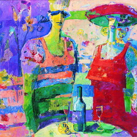 Beata Wasowska: 'Couple of people', 1995 Oil Painting, Figurative. Artist Description:  Art by Women, woman in art, cheerful and confident about the future, colourful, Chromatic, colored, varicolored, oil on canvas, variegated, florid, gay, vivid, color, Aleatoric, la dolce vita, optimistic, hopeful       ...