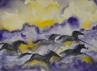 Eleanor Hartwell Artwork Purple Horses, 2003 Watercolor, Animals