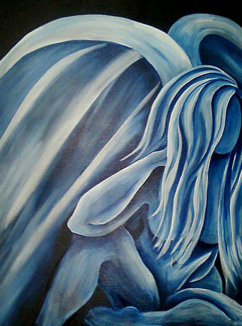 Amber Robbins  'Blue Angel Female', created in 2010, Original Painting Acrylic.