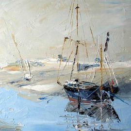 A M Bowe: 'Blakeney Quay, Norfolk', 2009 Oil Painting, Seascape. Artist Description: Juno - I painted this boat on a freezing day in January this year.  I went to Blakeney Quay, Norfolk for the weekend. ...