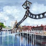 Halfpenny Bridge Dublin By A M Bowe