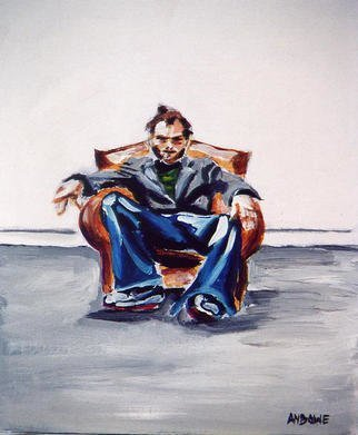 A M Bowe: 'Man in Chair', 2002 Acrylic Painting, Figurative.