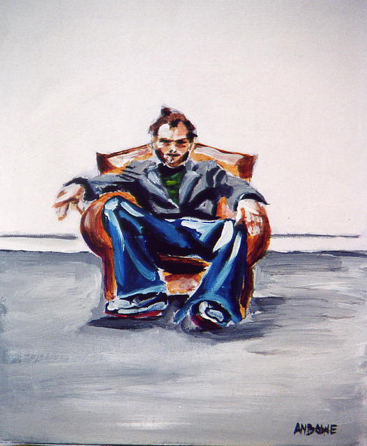 A M Bowe  'Man In Chair', created in 2002, Original Watercolor.