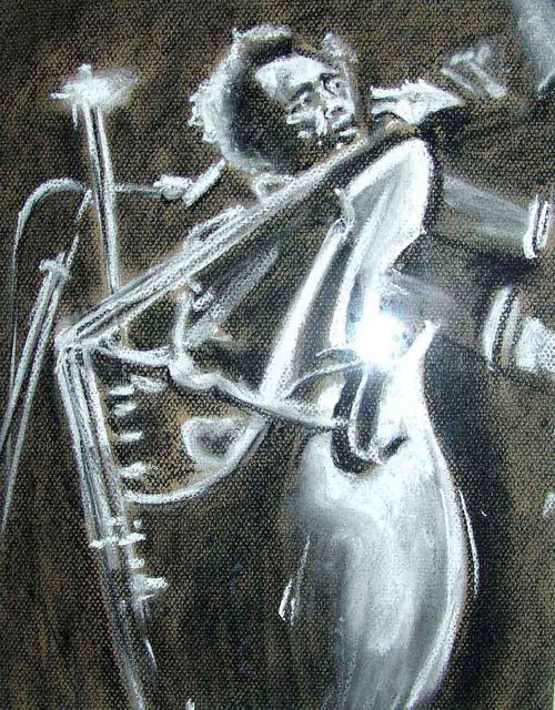 A M Bowe  ' Jazz Double Bass', created in 2007, Original Watercolor.