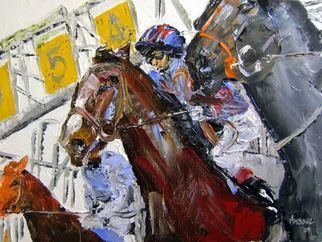 A M Bowe: 'at The Start', 2009 Oil Painting, Sports.