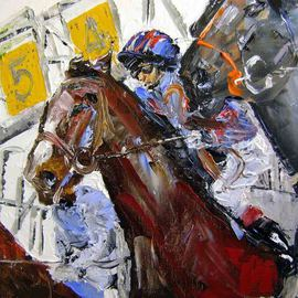 Anne-marie Bowe Artwork at The Start, 2009 Oil Painting, Sports
