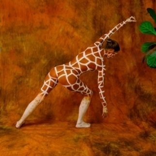 Amit Bar: 'Hungry Giraffe', 2008 Color Photograph, nudes.  Body- painted model in the studio   ...