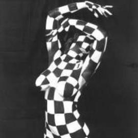 Amit Bar: 'Queen', 1997 Black and White Photograph, Nudes. Artist Description: Dancer, bodypainted with chessmat blocks....