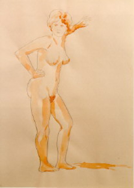 Amit Bar  'Standing Nude', created in 1999, Original Painting Other.