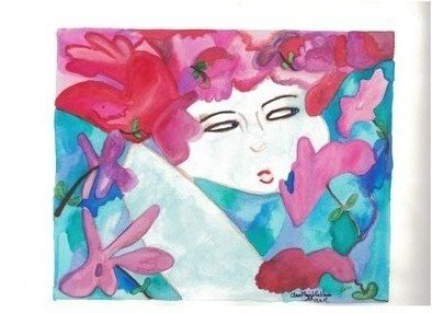 Mrs. Anne Marie Rackham: 'FowerFace', 2018 Watercolor, Abstract. Artist Description: This is an original design and watercolor painting. Title FlowerFace.Artist AnneMarie Rackham...