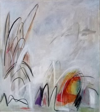 Ana Castro Feijoo: 'White brizees 1', 2020 Painting, Abstract. Belongs to the seriesThe color of the windits main caracteristic is its transparency in colors, gestual movements that take us back to the breezes from whish this work was inspired...